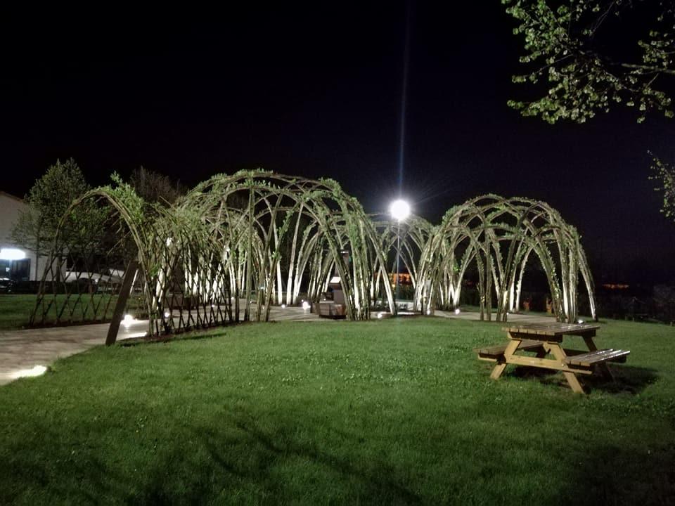 Il parco Pandora illuminato di notte